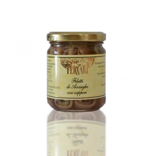 Filetti di Acciughe con Capperi sott'olio - gr.200